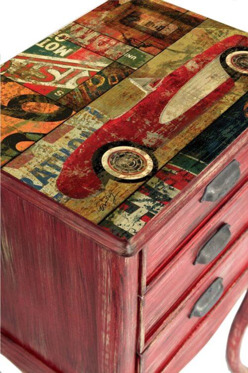 #kırmızı #antik #eskitme #komodin