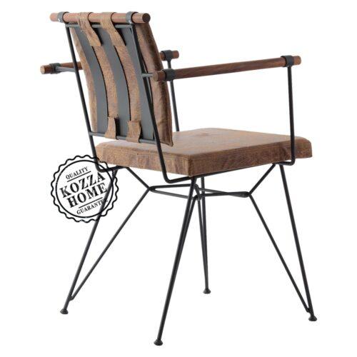 Endüstriyel Penyez Ahşap Kollu Sandalye