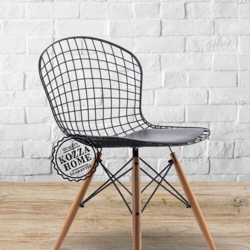 Endüstriyel Delüx Ahşap Ayaklı Metal Sandalye
