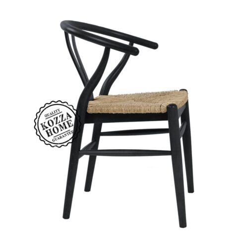 Dublin Hasırlı Sandalye Siyah